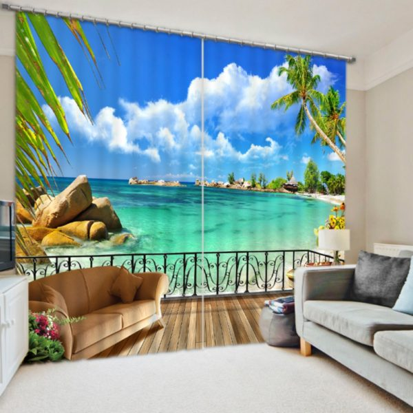 Trendy Beach Printed Curtain Set