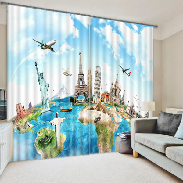 Trendy Seven Wonders Of World Curtain Set