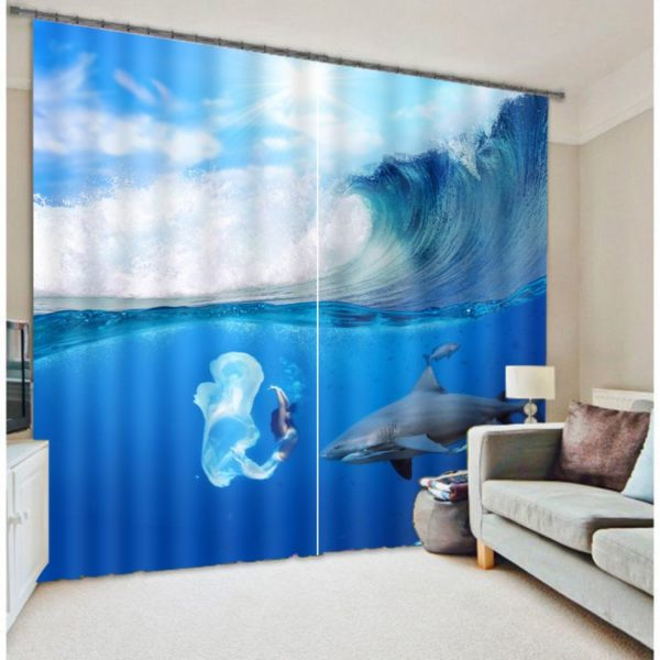 Incredible Dolphin Picture Curtain Set