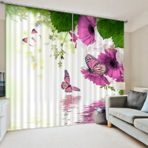 Romantic Pink Flowers And Butterfly Curtain Set