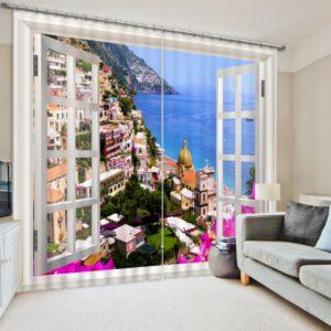 Lively Beach Themed Curtain Set