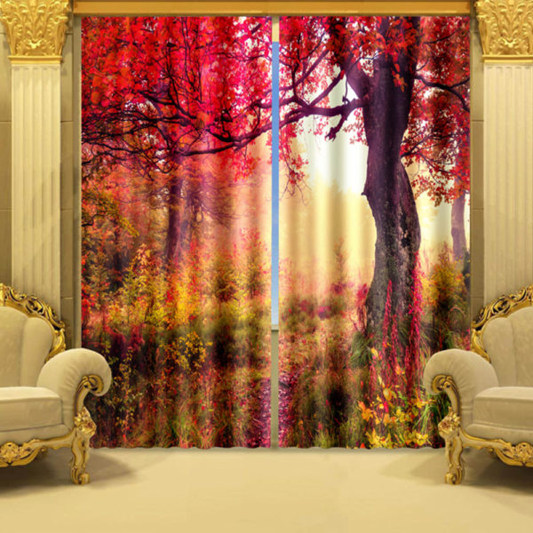31 zpscrwjfmpx 600x600 - Romantic Red Flowers Curtain Set