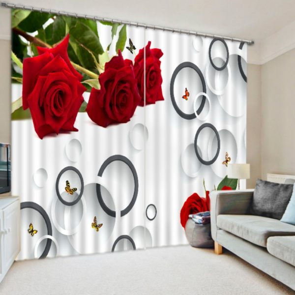 Red Rose Curtain Set