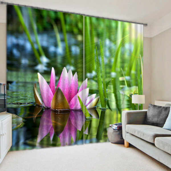 Stylish Lotus Picture Curtain Set