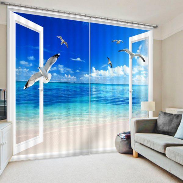 Graceful Blue And Beige Beach Curtain Set