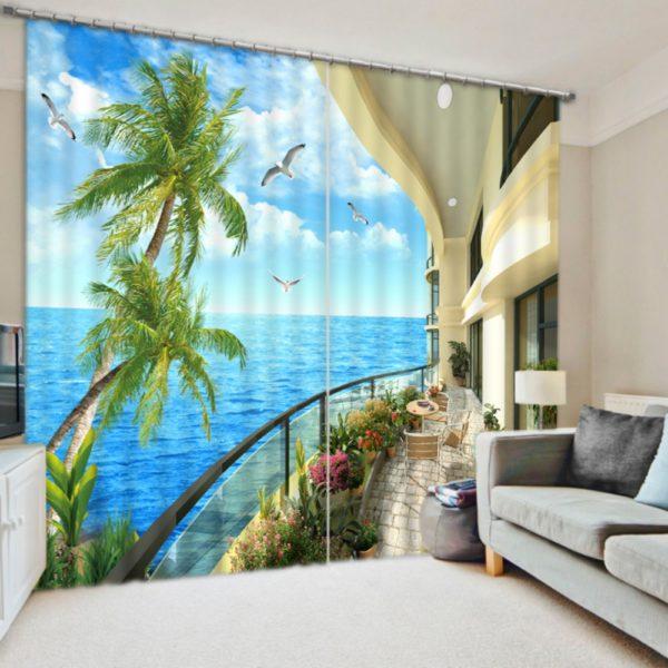 Graceful YellowNature Themed Curtain Set