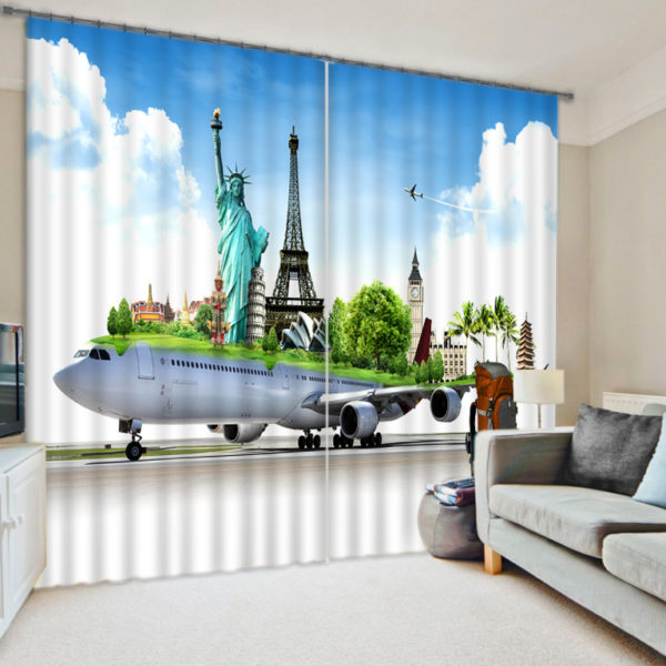 Graceful Seven Wonders Of The World Themed Curtain Set