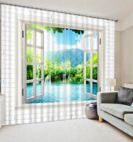 Mesmerizing Light Blue And White Curtain Set