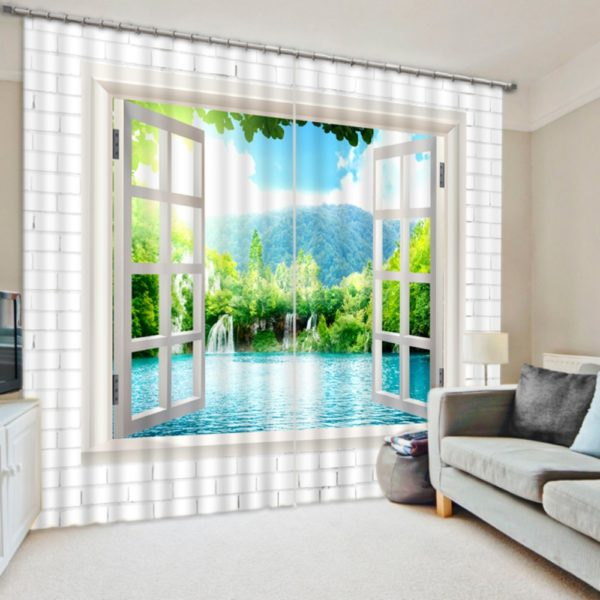 Mesmerizing Light Blue And White Curtain Set