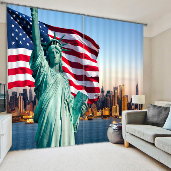 Mesmerizing Statue Of Liberty Curtain Set