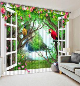 Brilliant Parrots And Flowers Curtain Set