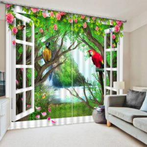 Brilliant Parrots And Flowers Curtain Set