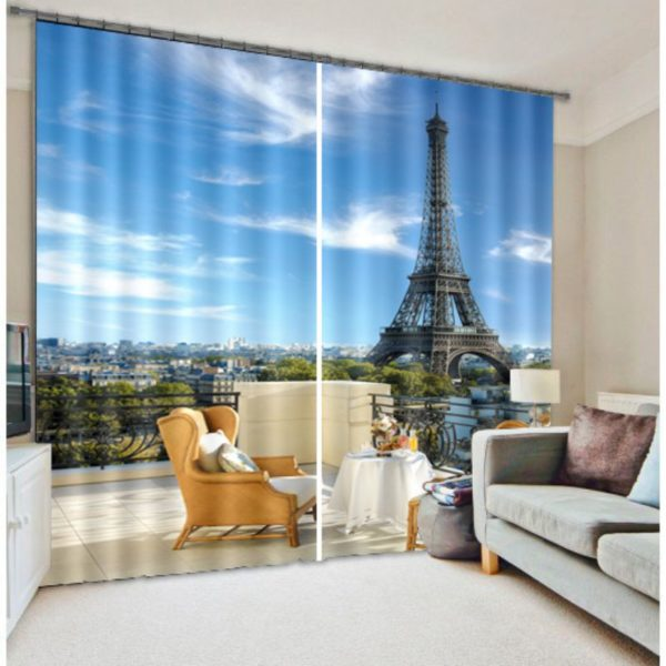 Elegant Eifel Tower Picture Curtain Set