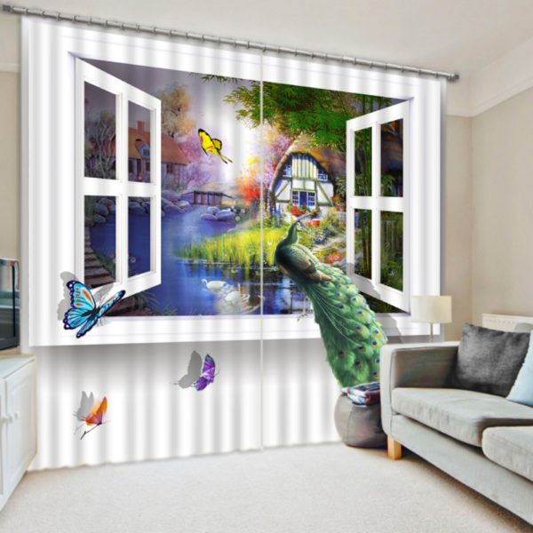 Elegant  Curtain Set with Peacock Theme