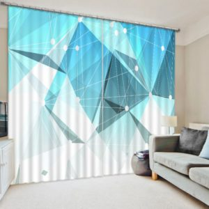 light blue abstract curtain set