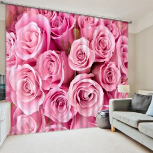 Glamorous Pink Rose Curtain set