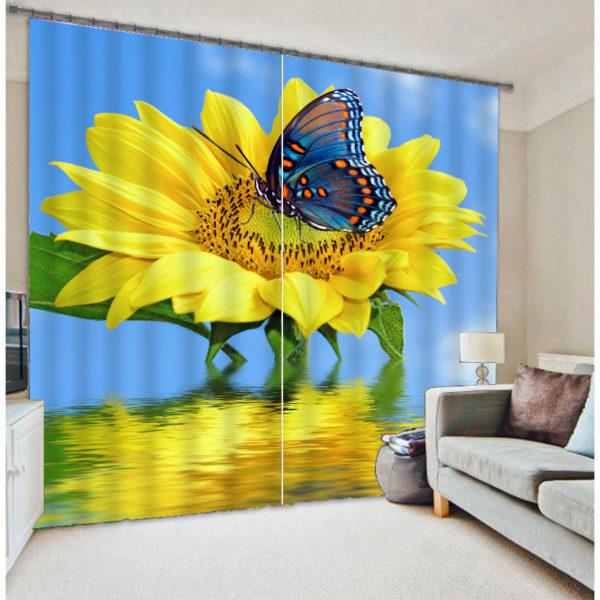 Glamorous 3D Sunflower Curtain set