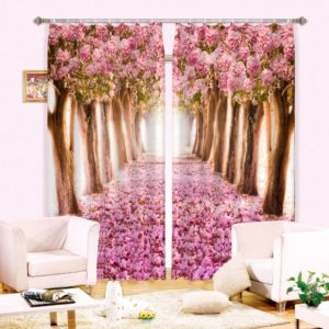 Glamorous White And Pink 3D Curtain set