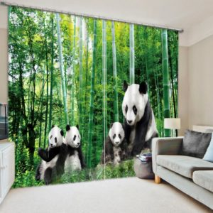 Visually Appealing Panda Themed Curtain Set