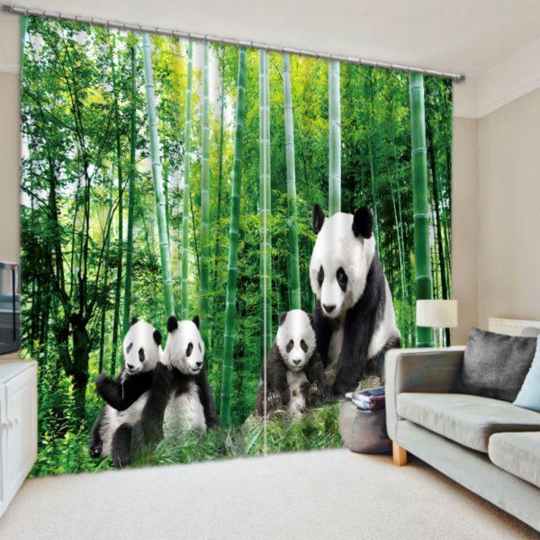 Visually Appealing Panda Themed Curtain Set