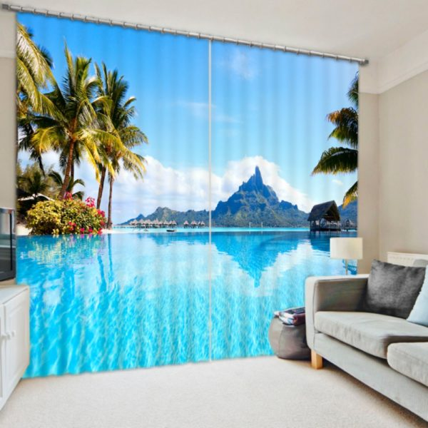 Pretty Beach Themed Curtain Set