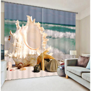 Visually Appealing Beach Themed Curtain Set