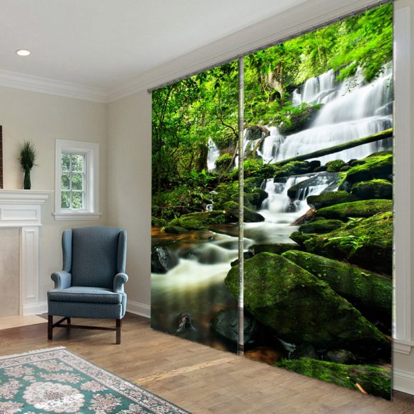 40amazon zpsgmahqv8h 600x600 - Visually Appealing Waterfall Themed Curtain Set