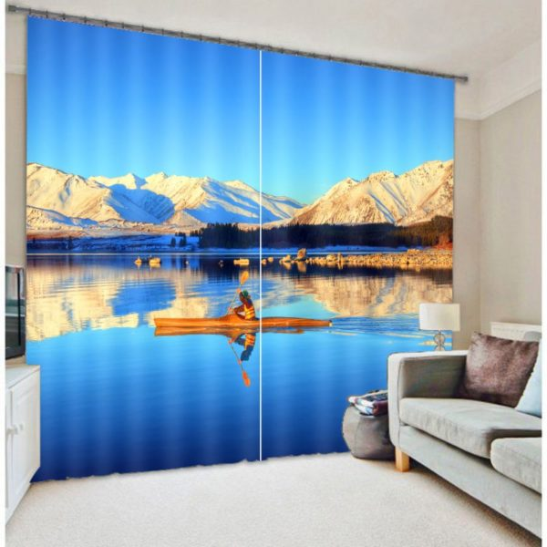 Visually Appealing Boat And Mountain Curtain Set