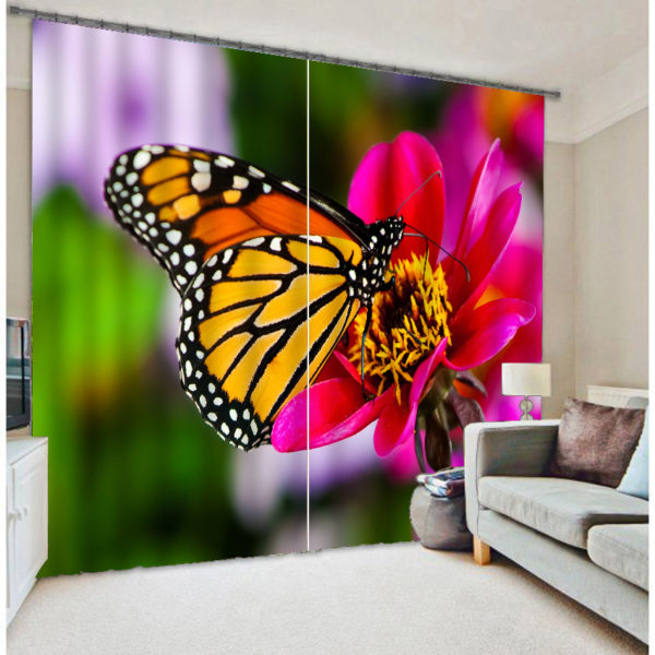 Beautiful Butterfly Print Curtain Set