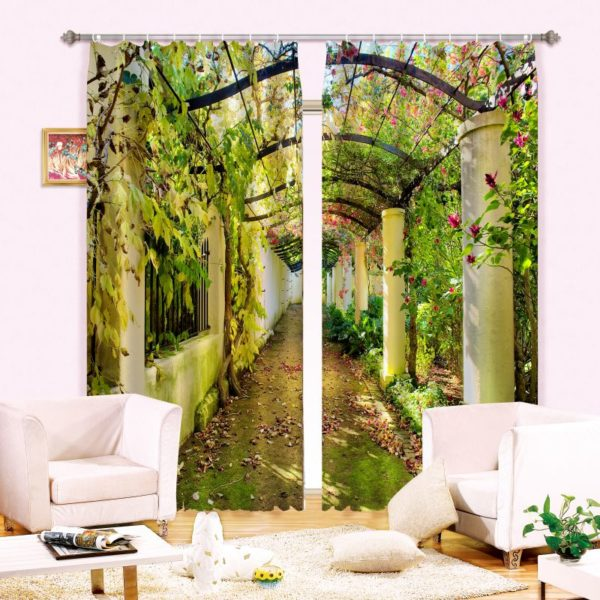 Beautiful Arc And Flower Print Curtain Set