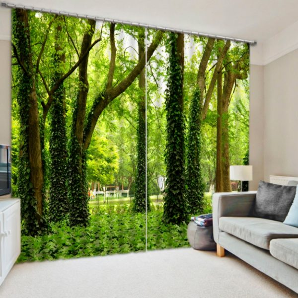 Stylish Nature Themed Curtain Set In Green