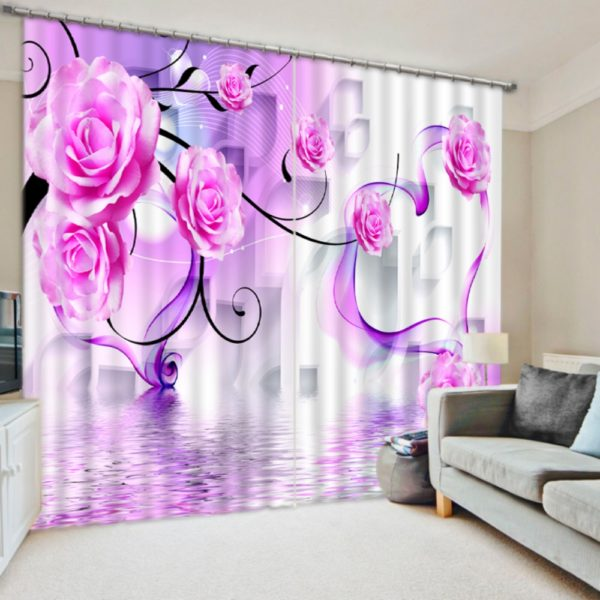Lovely Rose Themed Curtain Set