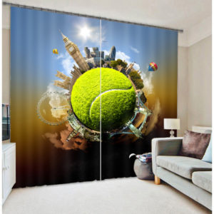Stylish World Themed Curtain Set