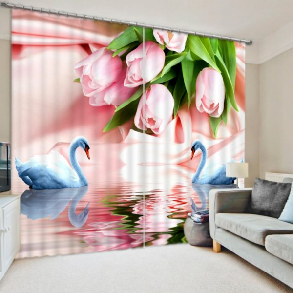 Graceful Rose And Swan Curtain Set