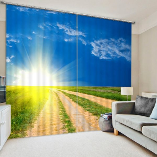 Lovely Sky And Crops Curtain Set