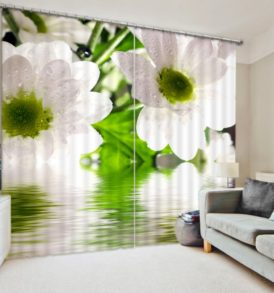 Ultra stylish White FLower Curtain Set