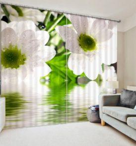 Ultra stylish White FLower Curtain Set