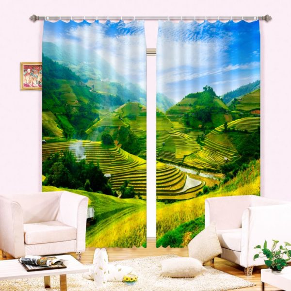 Ultra stylish Blue And Green Nature Curtain Set