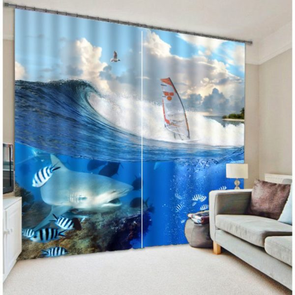 Mesmerizing Dolphin And Zebra fish Curtain Set
