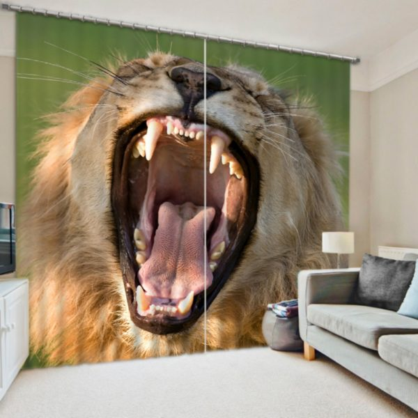 Majestic Lion Picture Curtain Set