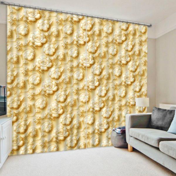 unique Gold Rose Curtain Set