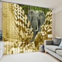 Elegant 3D Elephant Curtain Set