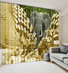 Elegant 3D Elephant Curtain Set