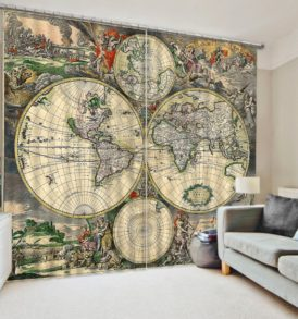 Vintage Looking Globe Picture Curtain Set