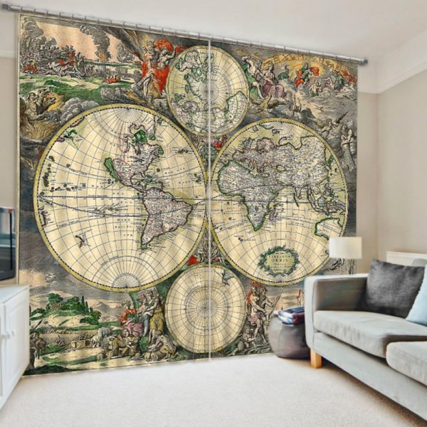 Vintage Looking Globe Picture Curtain Set Ebeddingsets