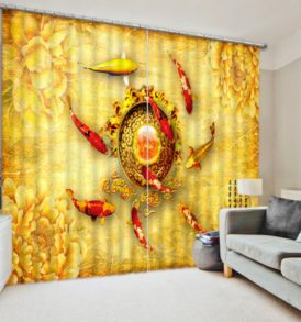 Lovely Koi Fish Curtain Set
