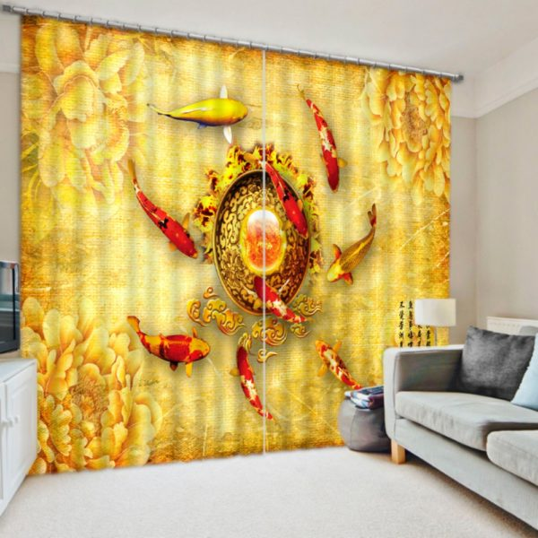 Lovely Koi Fish Curtain Set