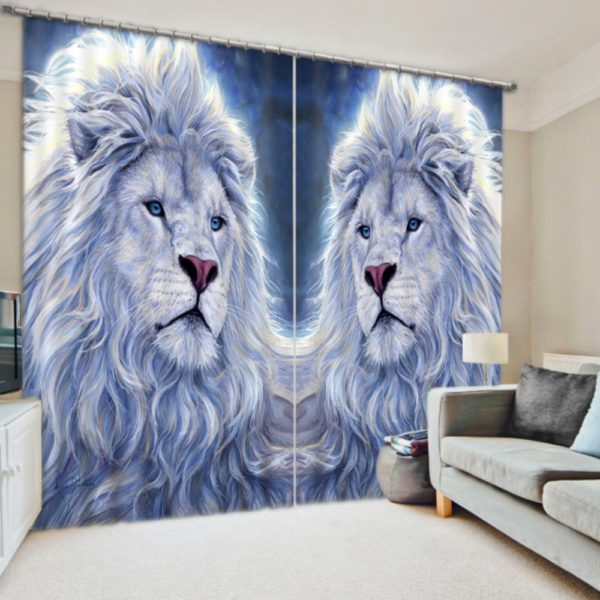 Exquisite  Lion Picture Curtain Set