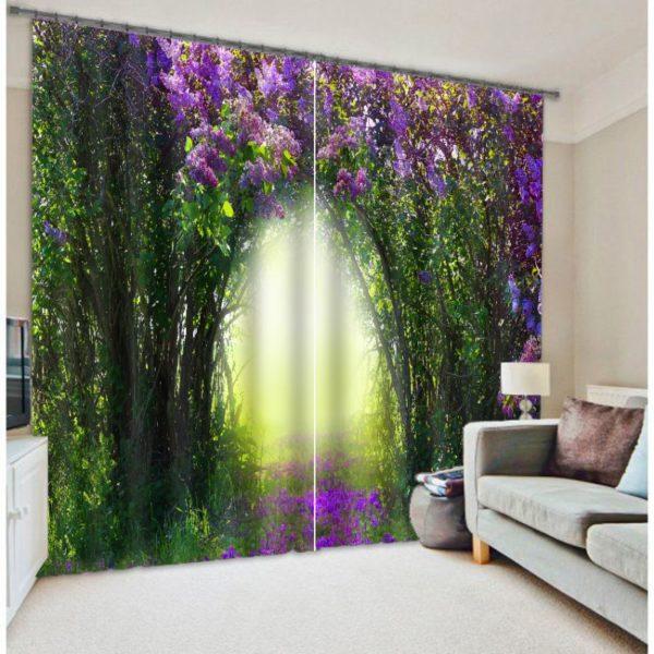 Exquisite  Floral Curtain Set In Purple