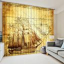 Stylish Voyage Curtain Set In Brown